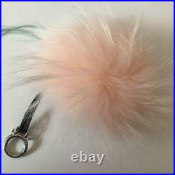 FENDI Monster Charm Key Chain White/ Pink Fur, Black belt and Silver metal F/S