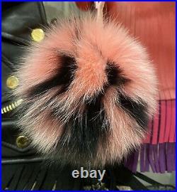 FENDI Pink & Black Fur Pom Pom Keychain