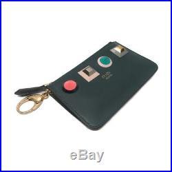 FENDI Rainbow Chain Key Case Black Calf Leather 8AP151