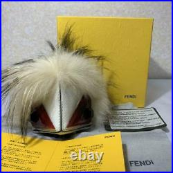 FENDI monster bag charm Mixed Fur and Leather Key Chain Two-color Stone Eyes