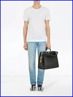 Fendi Lace Strap You Fabric Calf Leather Trim Key Fob Black Tobaco 7AR610