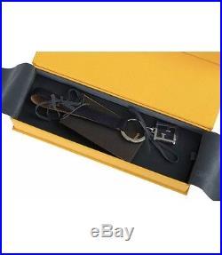 Fendi Luxury Ff Logo Navy Black Calf Leather Silver Key Chain Holder Ring