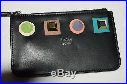 Fendi Mini Black Leather Key Chain Zipper Studded ID/Credit Card Holder Pouch