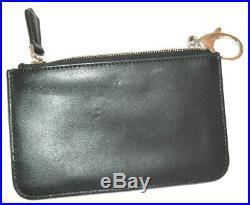 Fendi Mini Black Leather Key Chain Zipper Studded ID/Credit Card Holder Pouch