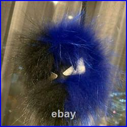Fendi Monster Charm Key Chain with storage pouch Twotone Black/ Blue Genuine F/S