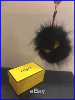 Fendi Monster Key Chain Black Fox Fur Classic Yellow Eyes. Rare! Brand New AUTH