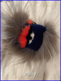 Fendi fur oversized monster bird black blue red grey white keyring fob bag charm