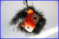Fendi fur oversized monster bird black orange pink fox keyring fob bag charm