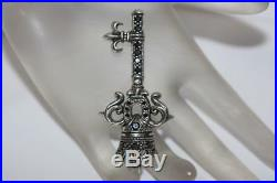 Fine 925 Sterling Silver Royal Key Pendant Charm with Onyx For Necklace Chain