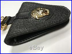 GIANNI VERSACE VINTAGE'90s MEDUSA TRIANGLE LEATHER KEY CHAIN PURSE HOLDER CASE