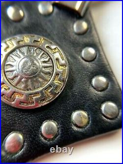 GIANNI VERSACE VINTAGE'90s SUN KING STUDDED LEATHER KEY CHAIN BLACK SILVER