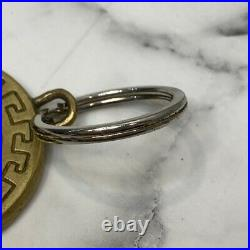 GIANNI VERSACE Vintage Gold & Black Medusa Circular Key Chain