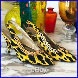 GIANNI VERSACE shoes Animal print with gold-tone Greek Key chain slingback pumps
