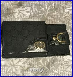 GUCCI 2WAY Wallet Interlocking G Canvas With Key Chain Card Holder. 2 Sets