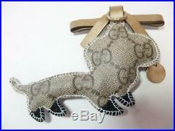 GUCCI Authentic GUCCIOLI Dachshund Dog Beige X Black X Gold Key Ring Charm Only