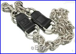 GUCCI Bag Charm Key Ring Wallet Chain Silver Color Black Leather authentic