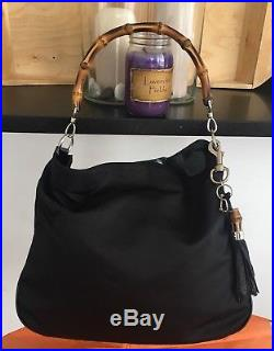 GUCCI Bamboo Black Nylon, Patent Leather HandBag Gucci Leather Tassel Keychain