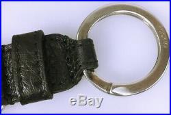GUCCI KEYCHAIN PALLADIUM INTERLOCK G BLACK LEATHER TWISTED CELLARIUS KEY FoB NEW