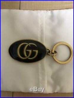 GUCCI Oval Key Ring Double GG Logo Key Chain Gold Color Bag Charm Black Enamel