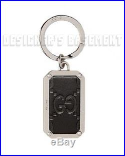 GUCCI black GUCCISSIMA Leather rectangular metal KEY CHAIN Ring NIB Authentic