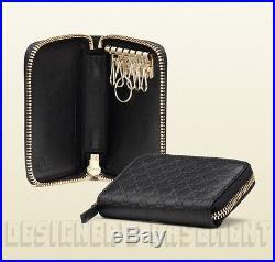 GUCCI black MICROGUCCISSIMA embossed Leather KEY Holder ZIP Around CASE NIB Auth