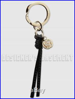 GUCCI gold GG Charm black MARRAKECH Leather Strap Key Ring New in Box Authentic