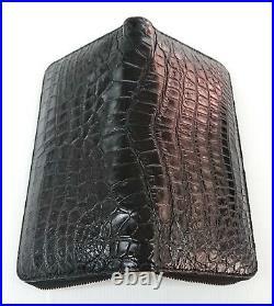 Genuine Crocodile Alligator Belly Skin Leather Zip Checkbook Black Clutch Wallet