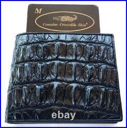 Genuine Real Backbone Crocodile Alligator Skin Leather Bifold Man Black Wallet