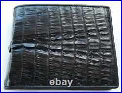 Genuine Real Tail Alligator Crocodile Skin Leather Man Bifold Black Wallet