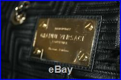 Gianni Versace Couture Black Quilted Greek Key Bag Large Tote Chain Meanders