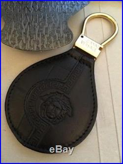 Gianni Versace Leather Keyring Brand New With Box Black and Gold Keychain