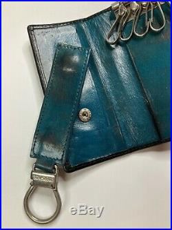 Gianni Versace Vintage Leather Key Wallet Case Removal Key Chain Medusa Emboss