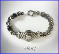 Gianni Versace bracelet Greek key design with black stones made in Italy