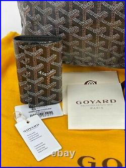 Goyard St. Louis PM Tote Bag Black Canvas WithPochette & Key Chain Wallet B189