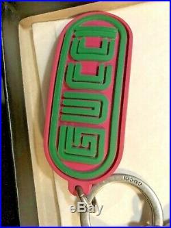 Gucci Accessory Mens Gucci OTTONE/GOMMAPALL BLK/FUCSUA VERD Key Chain, Italy