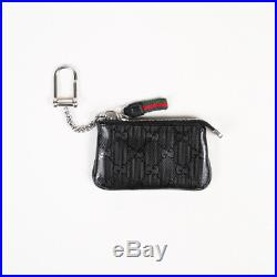 Gucci Black Coated Canvas Leather Gucci Imprime Original GG Key Chain Pouch