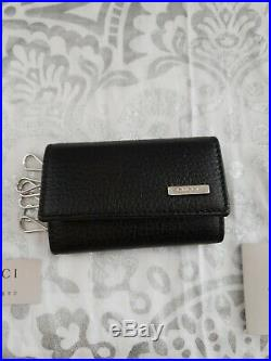 Gucci Black Pebbled Leather Key Credit Card Chain Case 150402 New with Box