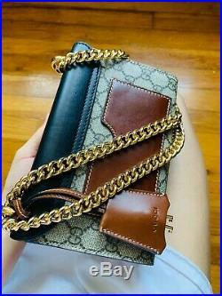 Gucci GG Supreme Padlock Brown Black Small Shoulder Bag with Leather Key Holder