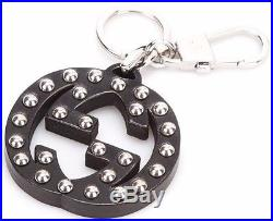 Gucci Interlocking GG Silver Studded Black Leather Key Ring Handbag Charm