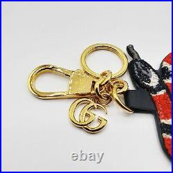 Gucci Red and Black Snake Embroidered Keyring withCoated Canvas Back 453181 6471