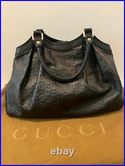 Gucci Sukey Guccisimma Black Leather Medium Satchel Handbag Excellent Condition