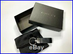 Gucci Vintage Logo Rubber Metal Key Chain Black Made In Italy Ring Pouch Box
