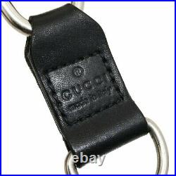 Gucci Wallet Chain Key Metal Leather Silver Black #KAI