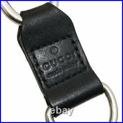 Gucci Wallet Chain Key Metal Leather Silver Black #KAI