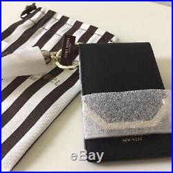 HENRI BENDEL NWT Cards and Keys Holder + Small Dust Bag Black Saffiano Leather