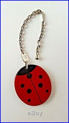 HERMES Lady Bug Bag Charm Key Chain Red Black Leather 925 Sterling Silvr EUC Box