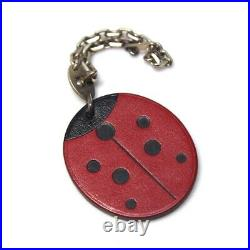 HERMES Ladybug Key Chain Accessory Key Holder Red/Black Leather
