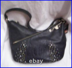 Harley-Davidson Purse, Black Leather WithEmbossed Flames, Brand New
