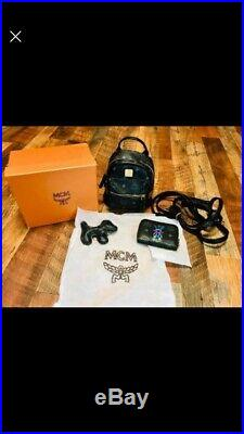 Hot McM 3 PC Mini Backpack Bag Set Black Leather Purse Wallet Keychain