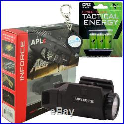 Inforce APLc Weapon Mounted Light Black with 3x batteries + Lumintrail Keychain